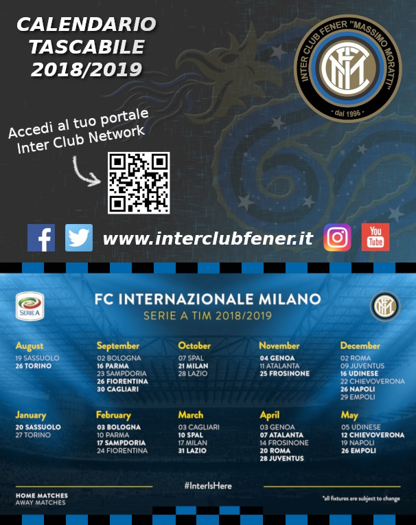 Calendario 2020 Tascabile.Calendario Tascabile Serie A Stagione 2018 2019 Inter