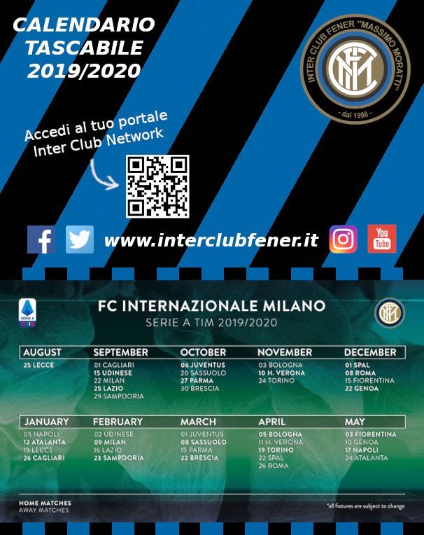 Calendario 2020 Inter.Calendario Tascabile Serie A Stagione 2019 2020 Inter